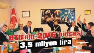 BTB'nin 2016 bütçesi 3,5 milyon lira