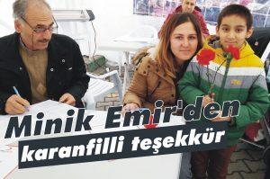 Minik Emir'den karanfilli teşekkür