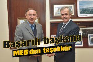 Eğitimci başkana MEB'den teşekkür